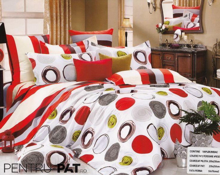 Lenjerie de pat bumbac Pucioasa cu cercuri colorate