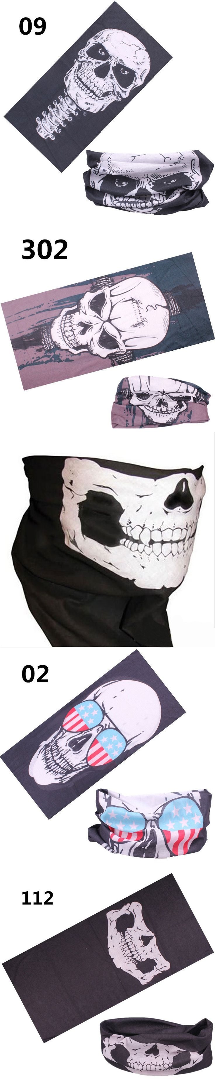 Skull Half Face Scarves Skeleton Sport Headband for Motorcycling Cycling Paintball Horror Mask Scarf for Halloween