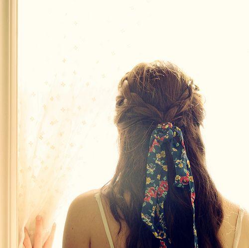 So cute!Braids Hairstyles, Hair Ideas, Hair Ribbons, Ties, Fabrics Bows, Plaits, Cute Hair, Hair Style, Hair Bows
