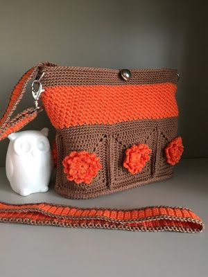 El Búho Crochet : Bolso Wildflower orange