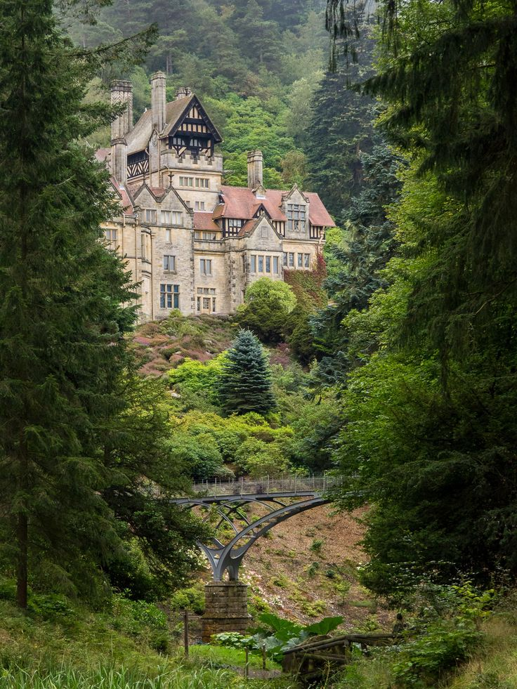 Cragside, Northumberland UK. ~Cragside is the country home of William George Armstrong, a 19th Century engineer who is responsible for a number of inventions and amassed great wealth as a builder of weapons and ships.  Cragside was the first private home in the world to have electric lighting supplied by an hydraulic turbine generator and the system was designed by Armstrong.  Armstrong also purchased Bamburgh castle late in his life and spent 1 million GBP in turning...