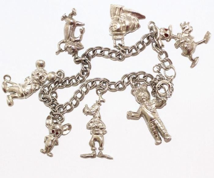 Rare Vintage Sterling Silver Charm Bracelet Disney Mgm Mickey Mouse Donald Duck Jewelry Pinterest Bracelets And