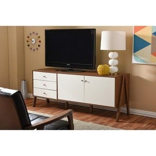 Shop for Baxton Studio Harlow Mid-century Modern Scandinavian Style White and Walnut Wood Sideboard Storage Cabinet. Get free delivery at Overstock.com - Your Online Furniture Shop! Get 5% in rewards with Club O! - 17839047