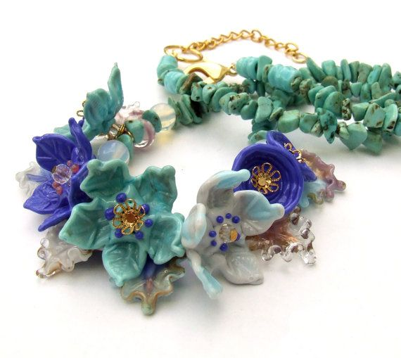 Lampwork Glass Necklace Flowers Necklace by silviaizkovich
