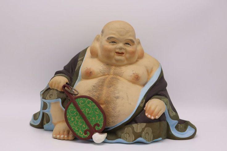 Vintage Urasaki Hakata Doll Hotei Fat Chubby Buddha Figure Statue Japan Ceramic