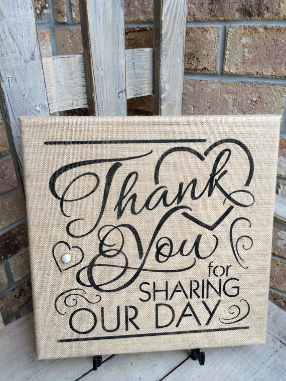 Burlap Wedding Sign Thank You For Sharing by oldecountrystrokes, $22.00
