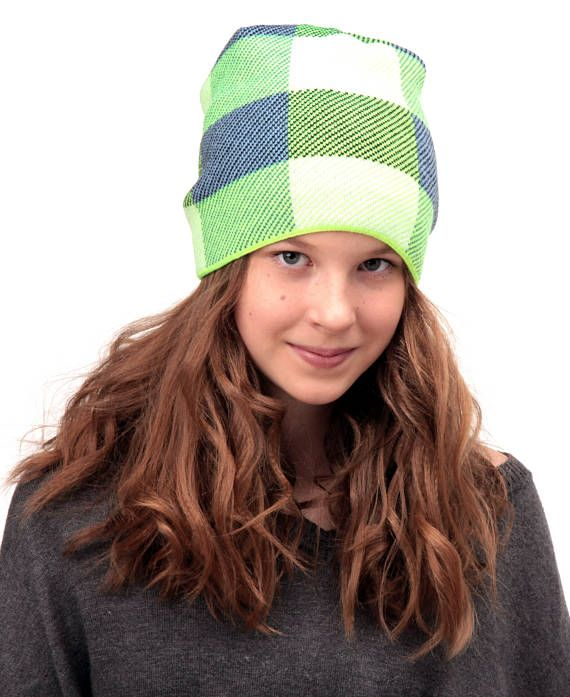 Fall slouchy beanie for teens lined with fleece, hipster beanie hat, teen hat, plaid hat, tartan hat, slouchy hat, beanie, teen beanie hat