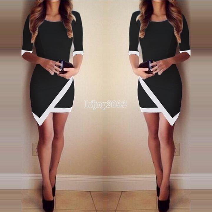Femmes sexy noir blanc de crayon asymétrique partie mini robe robe de bal Jupe