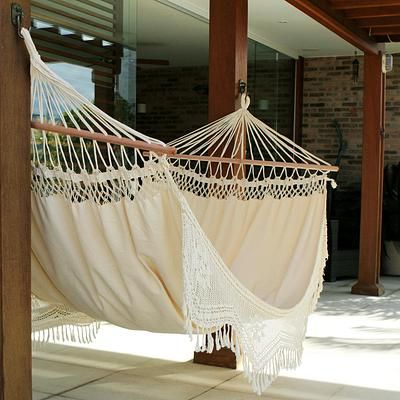 Cotton hammock with spreader bars, 'Tropical Nature' (single) - Brazilian Cotton Hammock with Crocheted Fringe (Single) (image 2)