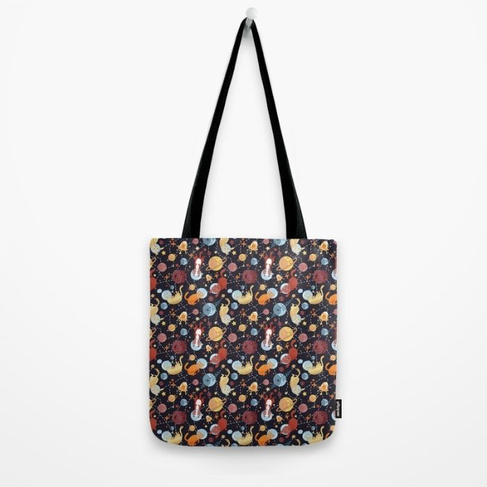 Cat astronaut seamless pattern Tote Bag by Erika Biro | Society6