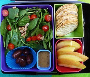 Spinach Salad, Balsamic Vinaigrette, Kalamata Olives, Stone Ground Wheat Crackers, Sliced Apple