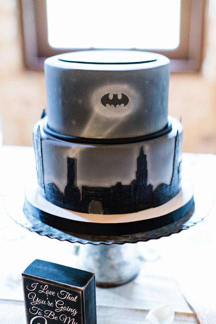 Batman groom's cake!  So cool.  Taken at THE SPRINGS in Rockwall by Michelle Rice Photography.