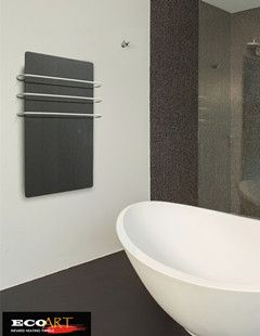 Glass infrared heaters with towel warmer, perfect choice for the bathroom, available for green, white, yellow and black colors