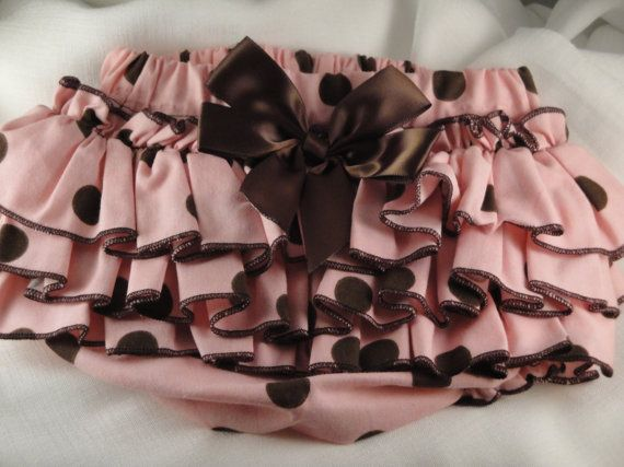 Pink and Brown Polkadots Ruffle Diaper Cover Bloomers.  Brooklyn and Cheyenne!