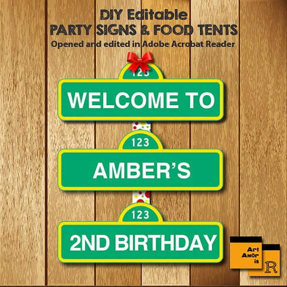 Sesame Street Party Signs Editable PDF Welcome Sign by ArtAmoris