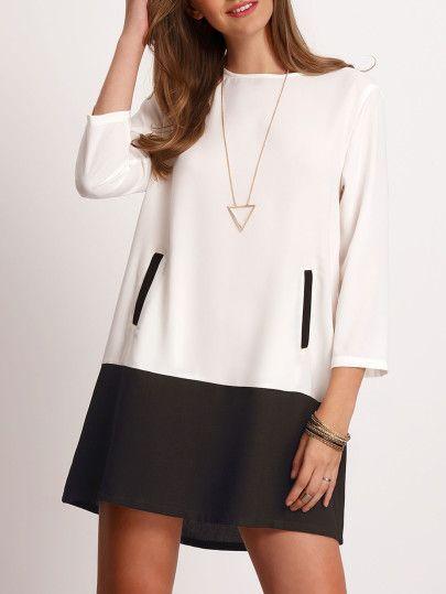 Vestido escote redondo bolsillos color combinado -blanco negro
