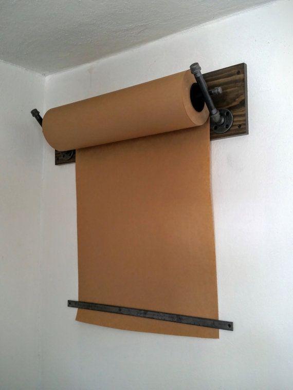 Kraft Paper Dispenser Wall Mount Industrial Pipe by LocustAndPlum
