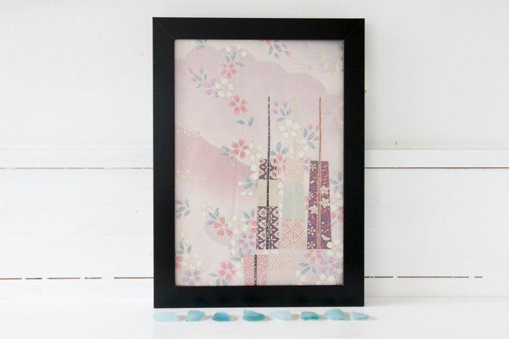Pretty Pastel Japanese Vintage Silk Kimono Cutting by CJSTonbo on Etsy