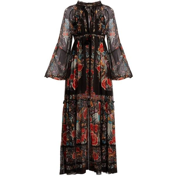 Roberto Cavalli Ancient Garden-print chiffon dress ($1,763) ❤ liked on Polyvore featuring dresses, black multi, embellished dress, long sheer dress, floral slip dress, long chiffon dress and long slip dress