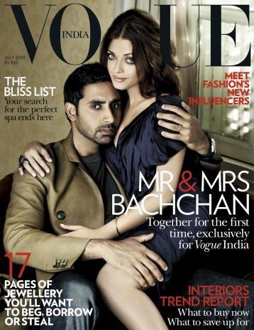 VOGUE India, July 2010; Cover: Abhishek Bachchan & Aishwarya Rai Bachchan LOVE THE COVER!!