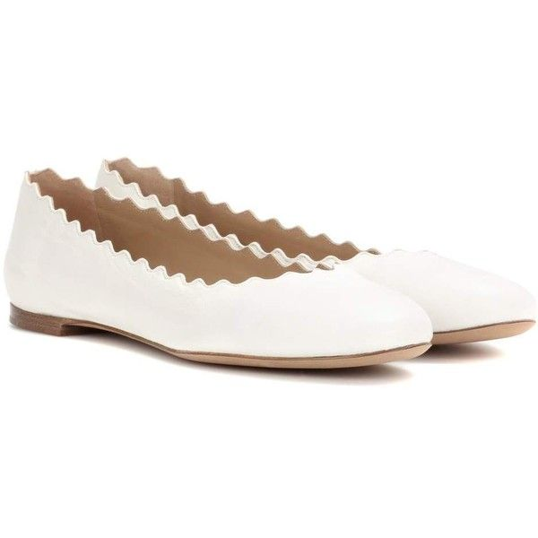 Chloé Lauren Ballerinas ($555) ❤ liked on Polyvore featuring shoes, flats, white, ballerina flats, white shoes, white ballerina flats, white ballet flats and white ballerina shoes