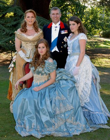 A family photo of the Duke and Duchess of York with their daughters Princesses Beatrice and Eugenie. • Princess Beatrice's 18th birthday • 8 August 2006 • Party theme: 1888 masked ball