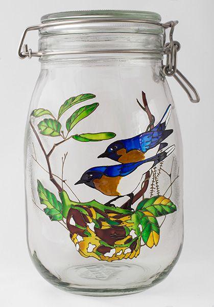 """Банка """"Синие птицы"""", роспись по стеклу"""