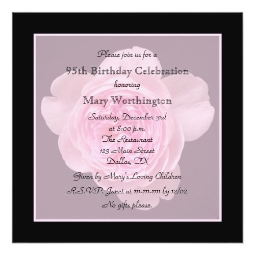 95th Birthday Party Invitation Rose For