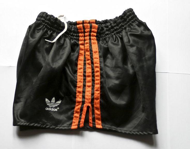 Adidas Black / Orange Shiny Nylon Glanz Sprinter Shorts. D5, Medium. West German made. Rare and Vintage Shorts for sale.