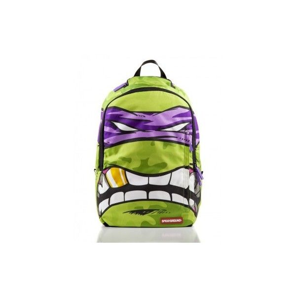 Sprayground x Ninja Turtles (Donatello) ❤ liked on Polyvore featuring bags, backpacks, gold backpack, day pack backpack, backpack bags, rucksack bag and gold bag