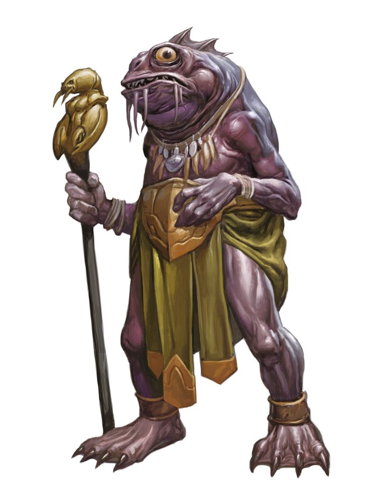 Kuo-toa, Priest King (from the D&D fifth edition Monster Manual). Art by Zoltan Boros.