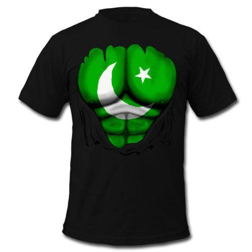 Spreadshirt Mens Pakistan Flag Ripped Muscles six pack chest t-sh T-Shirt black S ...