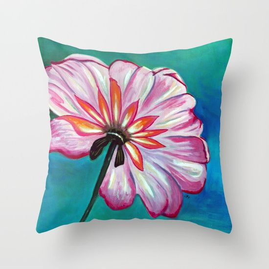 Lone Daisy by Jess Morris. Throw Pillow made from 100% spun polyester poplin fabric, a stylish statement that will liven up any room. Individually cut and sewn by hand, each pillow features a double-sided print and is finished with a concealed zipper for ease of care.  Sold with or without faux down pillow insert.