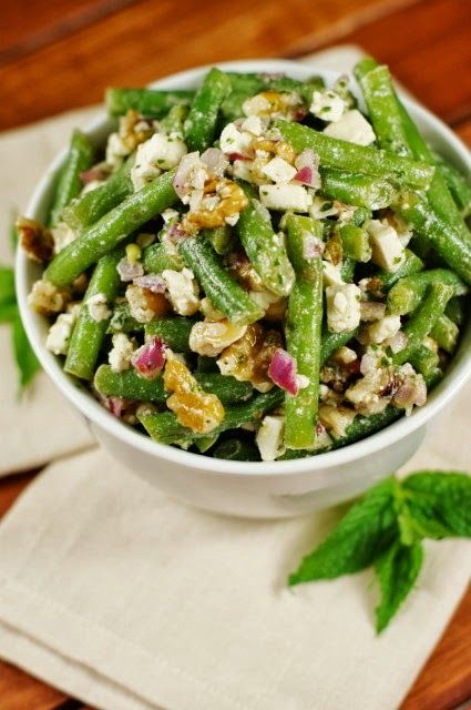 Fresh Green Bean, Walnut, and Feta Cheese Salad dressed with olive oil and fresh mint vinaigrette. It may sound bizarre, but it's one amazingly delicious flavor combination!