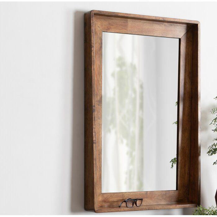 Elizabeth Vertical Wood Beveled Accent Mirror With Shelves Mirror With Shelf Rustic Mirrors Wooden Mirror