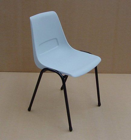 Nova Chair Moulded plastic chair on metal frame. Available in Black, Blue, White and Beige. Other colours available upon request.