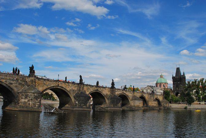Czech Republic, Prague, picture, city, summer, river, bridge, Charles Bridge, sculpture, sky