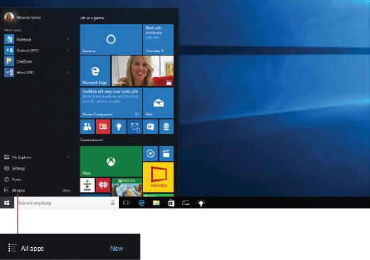 Most used, recently added, and all apps list on the Start menu