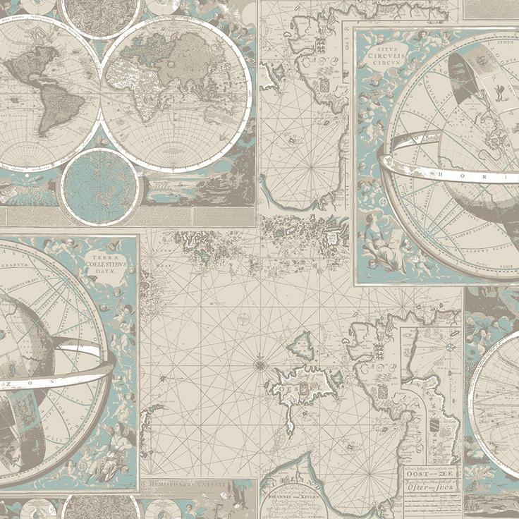 Kartta wallpaper, blue/beige. Design John Nurminen Foundation