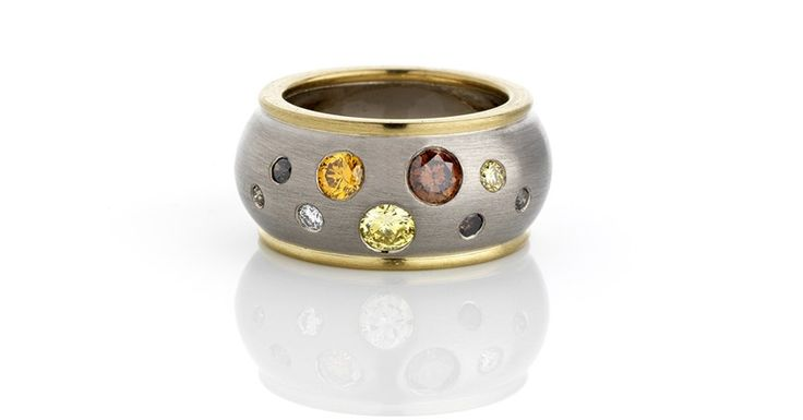 Heavy Wide Rimmed Ring in Brushed White and Yellow Gold with Random Gypsy Set Multi Coloured Natural Diamonds