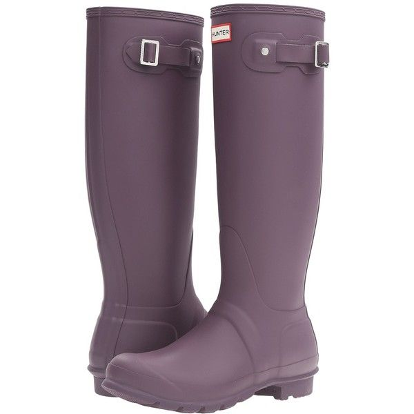 Hunter Original Tall (Purple Urchin) Women's Rain Boots ($150) ❤ liked on Polyvore featuring shoes, boots, knee-high boots, rubber boots, knee boots, buckle boots, platform boots and tall rain boots