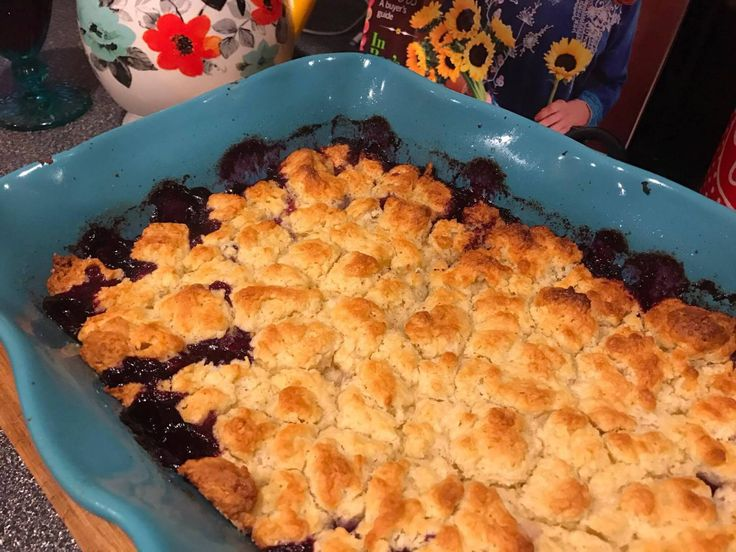 Blueberry Cobbler a Pioneer Woman Magazine Blast, A Step-by-Step Recipe!   Easy Recipe, Food Network, The Kitchen.