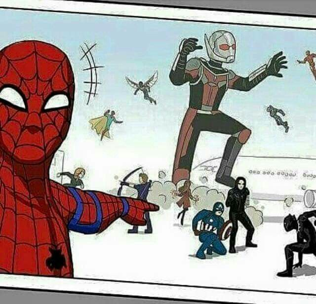 Spiderman Selfie! XD Hahaha!!! The funny thing is you can totally see this happening! / Captain America: Civil War!!!