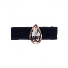 Anello in velcro nero foderato in gros grain con goccia di cristallo chandelier rosa riposizionabile