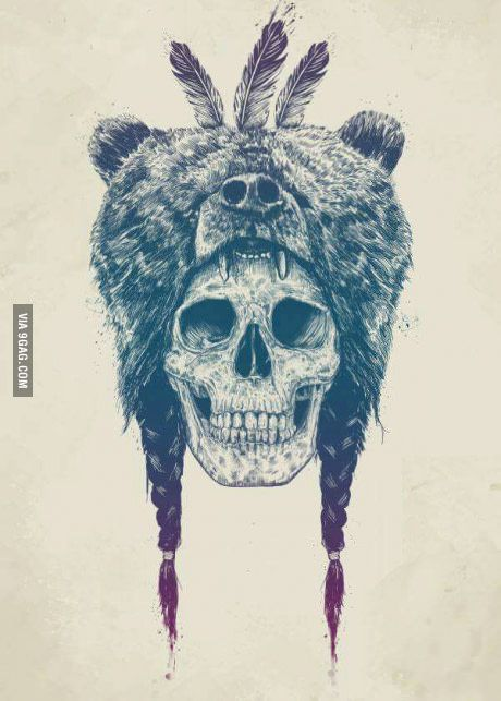 Just a skull wearing a bear.