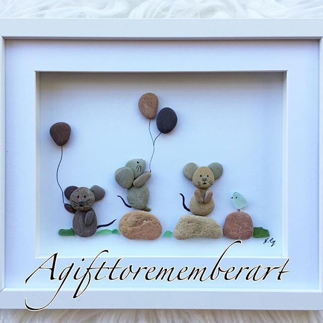 """Little mice and a bird"" continuing with my kid's collection with these adorable little mice! #agifttorememberart #pebbleart #art #originaldesign #mouse #bird #balloons #kidsroom #kidsdecor #birthdaygift #cute #etsy #etsyseller #animallovers #craft #handmade #unique #makersgonnamake #photooftheday #instaphoto #instaart #baby #babyroom"