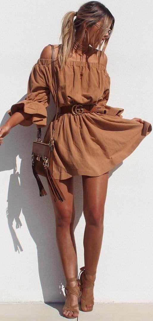 #summer #outfits  Camel Off The Shoulder Dress + Camel Sandals