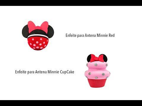 Enfeite para Antena de Carro Minnie Red e CupCake