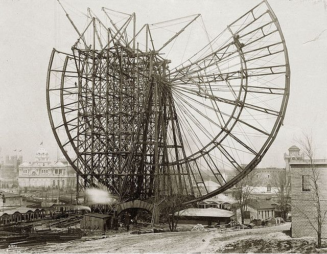I'd love to hang a print of this // World's Fair Ferris Wheel construction, 1904 by Missouri History Museum, via Flickr