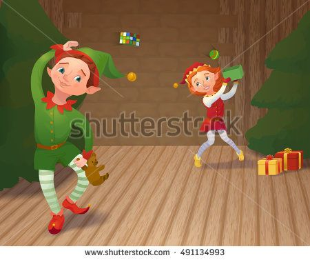 Cute santa's elves playing and packing christmas gifts. Xmas card